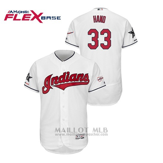 Maillot Baseball Homme Cleveland Indians Brad Hand 2019 All Star Flex Base Blanc