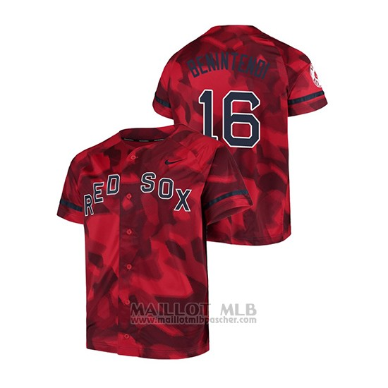 Maillot Baseball Hombre Boston Red Sox Andrew Benintendi Camouflage Authentique Collezione Rouge