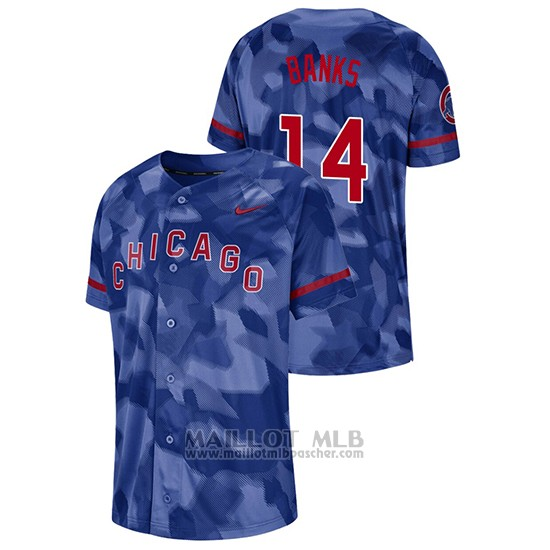 Maillot Baseball Hombre Chicago Cubs Ernie Banks Camouflage Authentique Collezione Bleu