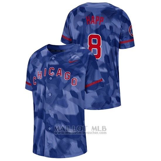 Maillot Baseball Hombre Chicago Cubs Ian Happ Camouflage Authentique Collezione Bleu