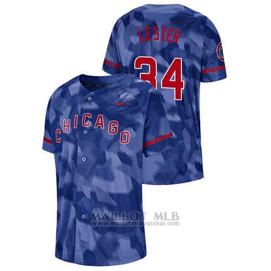 Maillot Baseball Hombre Chicago Cubs Jon Lester Camouflage Authentique Collezione Bleu