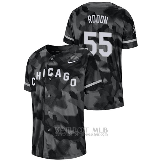 Maillot Baseball Hombre Chicago White Sox Carlos Rodon Camouflage Authentique Collezione Noir