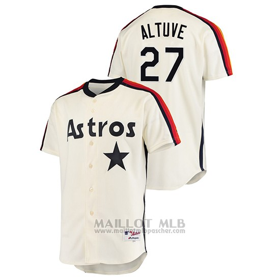 Maillot Baseball Homme Houston Astros Jose Altuve Oilers Vs. Houston Astros Cooperstown Collection Creme