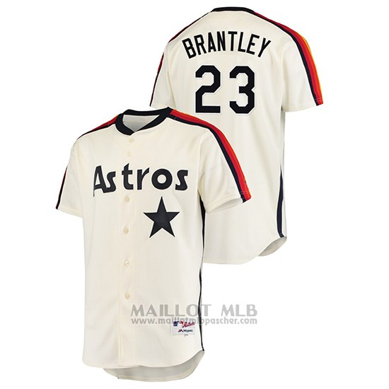 Maillot Baseball Homme Houston Astros Michael Brantley Oilers Vs. Houston Astros Cooperstown Collection Creme