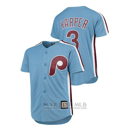 Maillot Baseball Enfant Philadelphia Phillies Bryce Harper Cooperstown Collection Replica Bleu