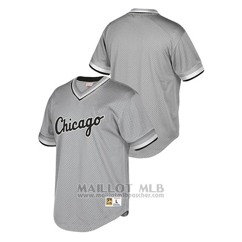 Maillot Baseball Hombre Chicago White SoxCooperstown Collection Mesh Wordmark Gris