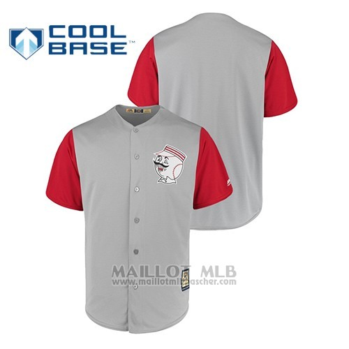 Maillot Baseball Hombre Cincinnati Reds Cool Base Cooperstown Collection 1956 Gris