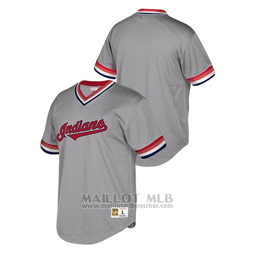 Maillot Baseball Hombre Cleveland Indians Cooperstown Collection Mesh Wordmark Gris