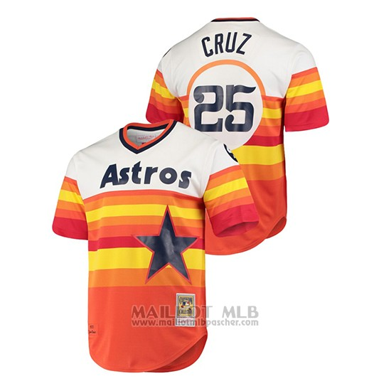 Maillot Baseball Hombre Houston Astros 25 Jose Cruz Cooperstown Collection 1975 Domicile White Orange