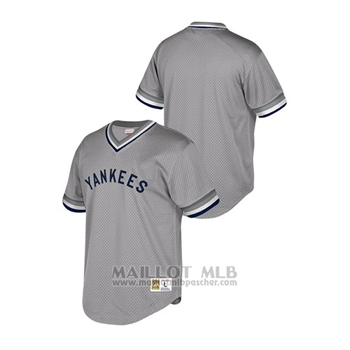 Maillot Baseball Hombre New York Yankees Cooperstown Collection Mesh Wordmark Gris