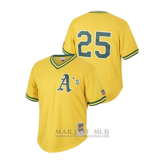Maillot Baseball Hombre Oakland Athletics 25 Mark Mcgwire Cooperstown Collection Mesh Batting Practice Or