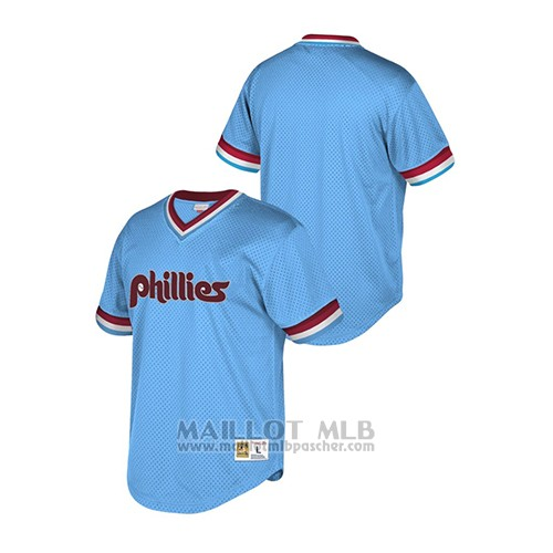 Maillot Baseball Hombre Philadelphia Phillies Cooperstown Collection Mesh Wordmark Bleu