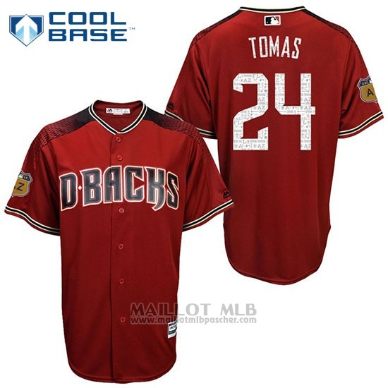 Maillot Baseball Homme Arizona Diamondbacks 24 Yasmany Tomas 2017 Entrainement de printemps Cool Base