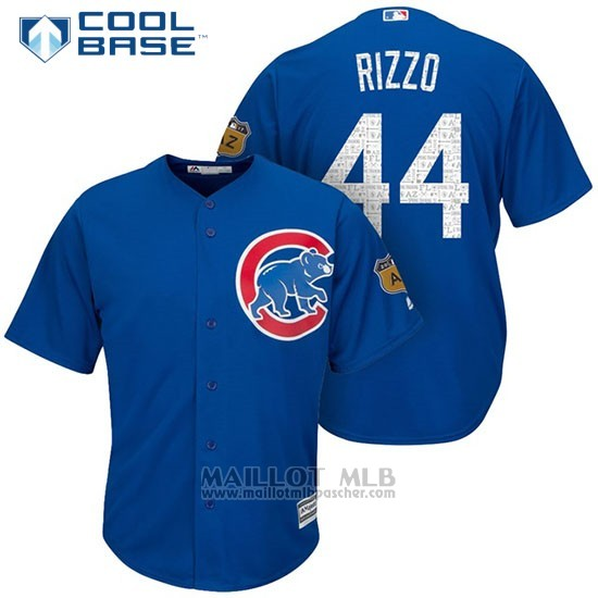 Maillot Baseball Homme Chicago Cubs 44 Anthony Rizzo 2017 Entrainement de printemps Cool Base Joueur