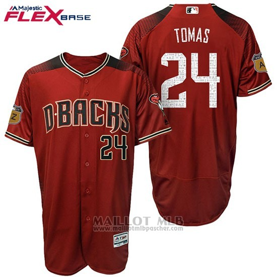 Maillot Baseball Homme Arizona Diamondbacks 24 Yasmany Tomas 2017 Entrainement de printemps Flex Base