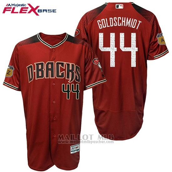 Maillot Baseball Homme Arizona Diamondbacks 44 Paul Goldschmidt 2017 Entrainement de printemps Flex Base