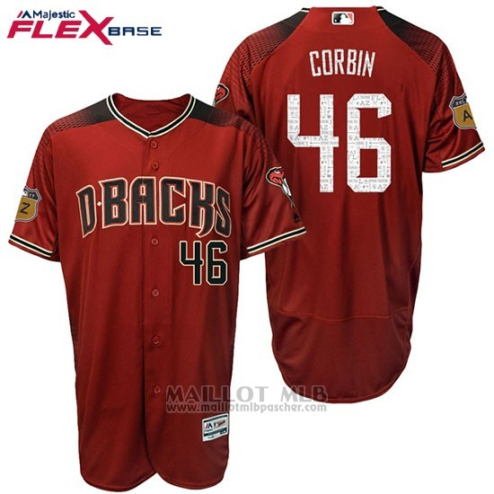 Maillot Baseball Homme Arizona Diamondbacks 46 Patrick Corbin 2017 Entrainement de printemps Flex Base