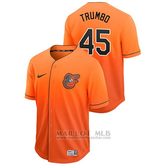 Maillot Baseball Homme Baltimore Orioles Mark Trumbo Fade Authentique Orange
