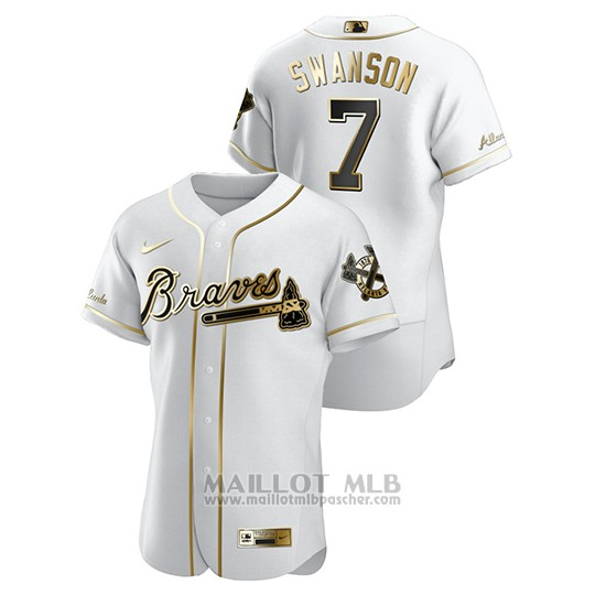Maillot Baseball Homme Atlanta Braves Dansby Swanson Golden Edition Authentique Blanc
