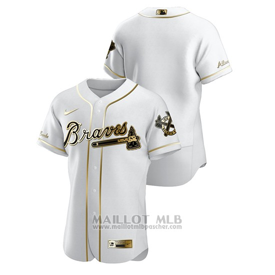 Maillot Baseball Homme Atlanta Braves Golden Edition Authentique Blanc