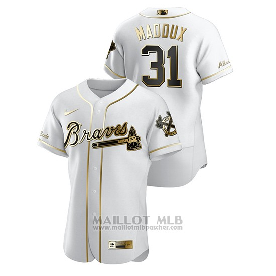 Maillot Baseball Homme Atlanta Braves Greg Maddux Golden Edition Authentique Blanc