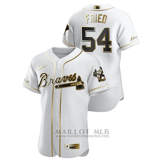 Maillot Baseball Homme Atlanta Braves Max Fried Golden Edition Authentique Blanc