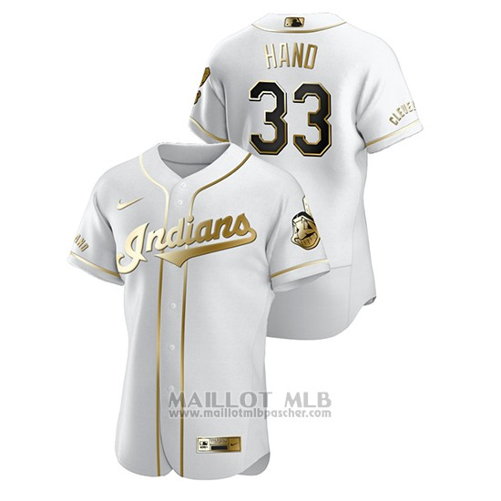 Maillot Baseball Homme Cleveland Indians Brad Hand Golden Edition Authentique Blanc