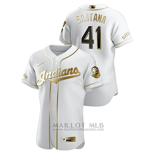 Maillot Baseball Homme Cleveland Indians Carlos Santana Golden Edition Authentique Blanc