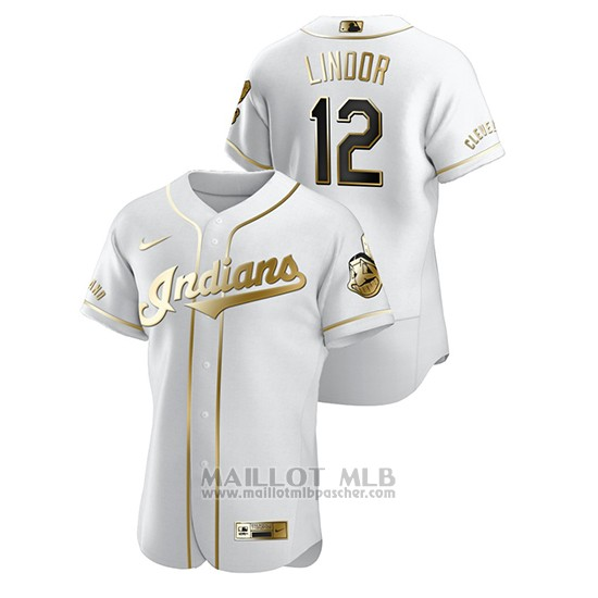 Maillot Baseball Homme Cleveland Indians Francisco Lindor Golden Edition Authentique Blanc