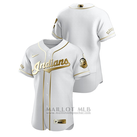 Maillot Baseball Homme Cleveland Indians Golden Edition Authentique Blanc