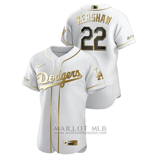Maillot Baseball Homme Los Angeles Dodgers Clayton Kershaw Golden Edition Authentique Blanc