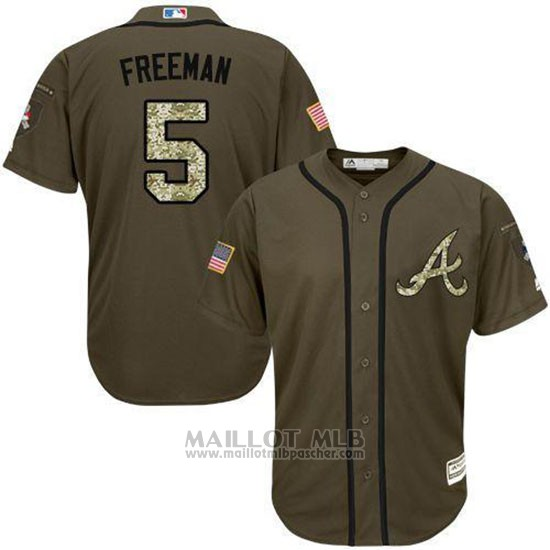 Maillot Baseball Homme Atlanta Braves 5 Frojodie Freeman Vert Salute To Service