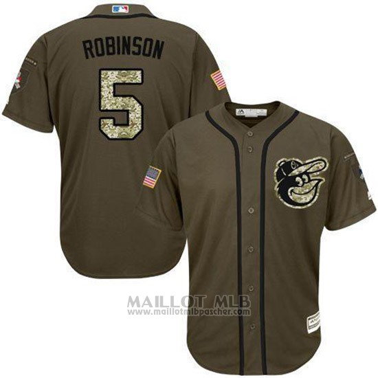 Maillot Baseball Homme Baltimore Orioles 5 Brooks Robinson Vert Salute To Service