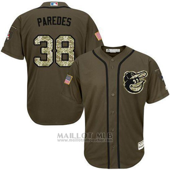 Maillot Baseball Homme Baltimore Orioles Majestic 38 Jimmy Parojoes Salute To Service Olive