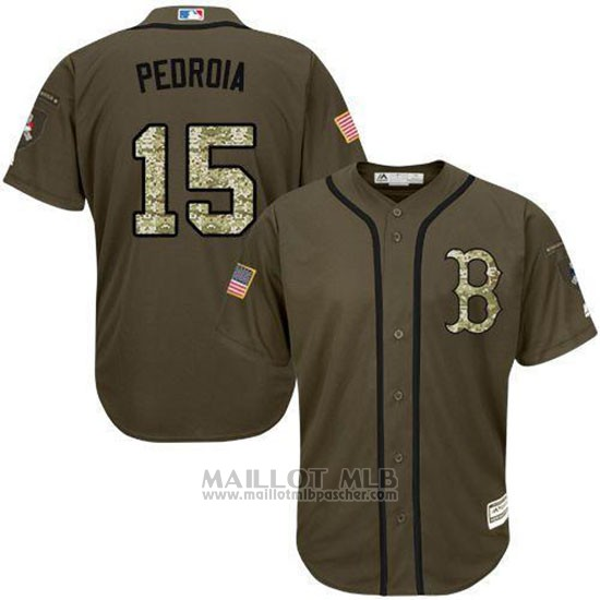 Maillot Baseball Homme Boston Red Sox 15 Dustin Pedroia Vert Salute To Service