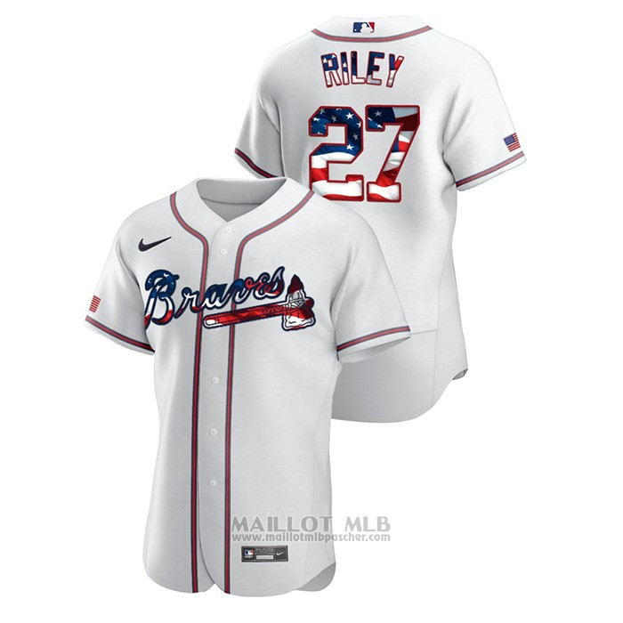 Maillot Baseball Homme Atlanta Braves Austin Riley 2020 Stars & Stripes 4th of July Blanc