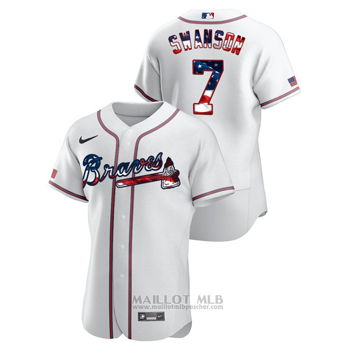 Maillot Baseball Homme Atlanta Braves Dansby Swanson 2020 Stars & Stripes 4th of July Blanc
