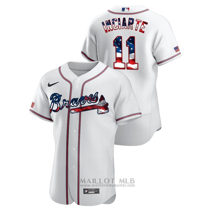 Maillot Baseball Homme Atlanta Braves Ender Inciarte 2020 Stars & Stripes 4th of July Blanc