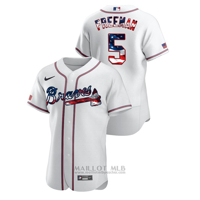 Maillot Baseball Homme Atlanta Braves Freddie Freeman 2020 Stars & Stripes 4th of July Blanc