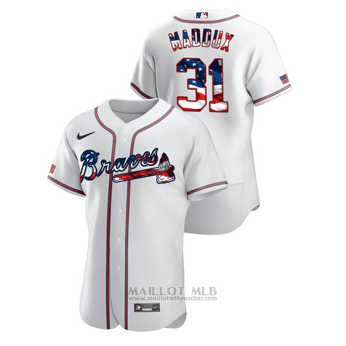 Maillot Baseball Homme Atlanta Braves Greg Maddux 2020 Stars & Stripes 4th of July Blanc