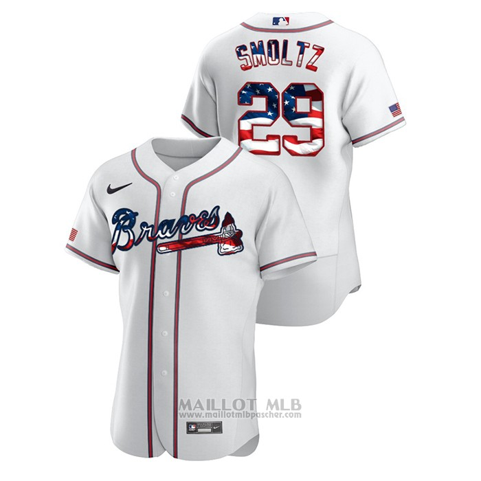 Maillot Baseball Homme Atlanta Braves John Smoltz 2020 Stars & Stripes 4th of July Blanc