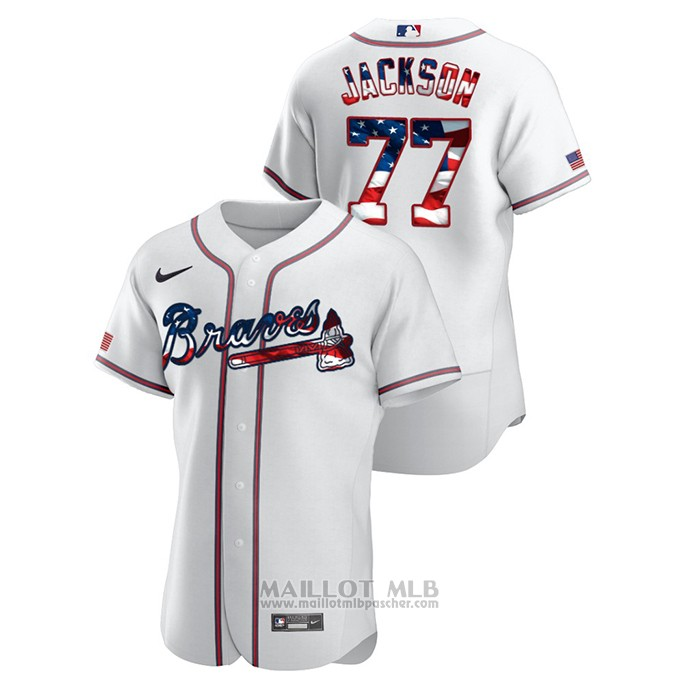 Maillot Baseball Homme Atlanta Braves Luke Jackson 2020 Stars & Stripes 4th of July Blanc