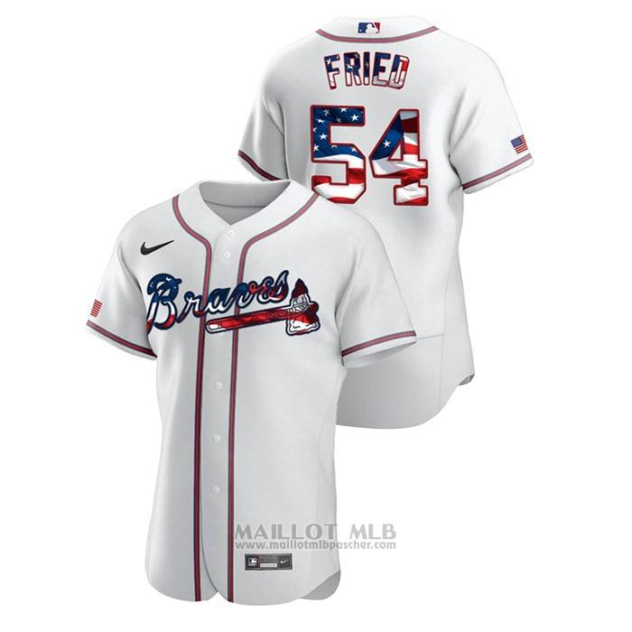 Maillot Baseball Homme Atlanta Braves Max Fried 2020 Stars & Stripes 4th of July Blanc