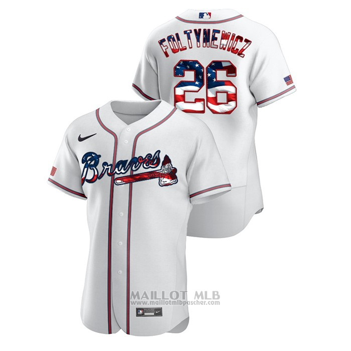Maillot Baseball Homme Atlanta Braves Mike Foltynewicz 2020 Stars & Stripes 4th of July Blanc