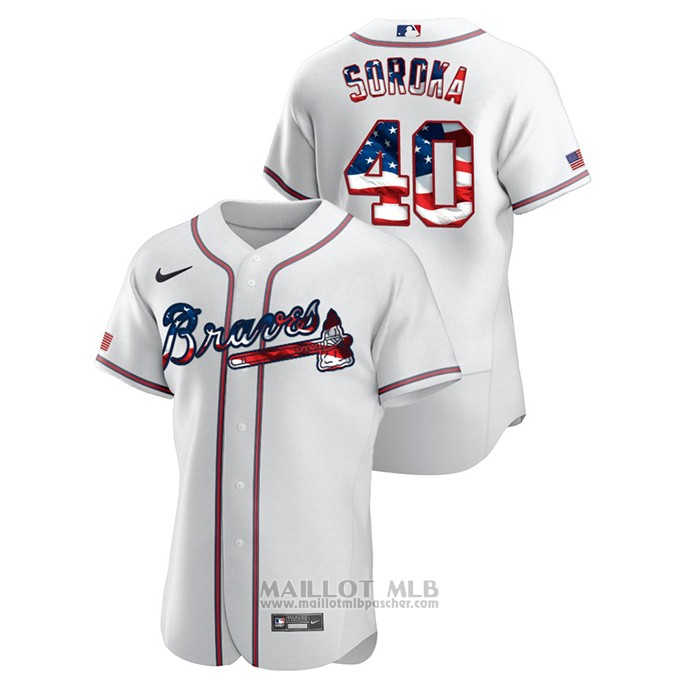 Maillot Baseball Homme Atlanta Braves Mike Soroka 2020 Stars & Stripes 4th of July Blanc