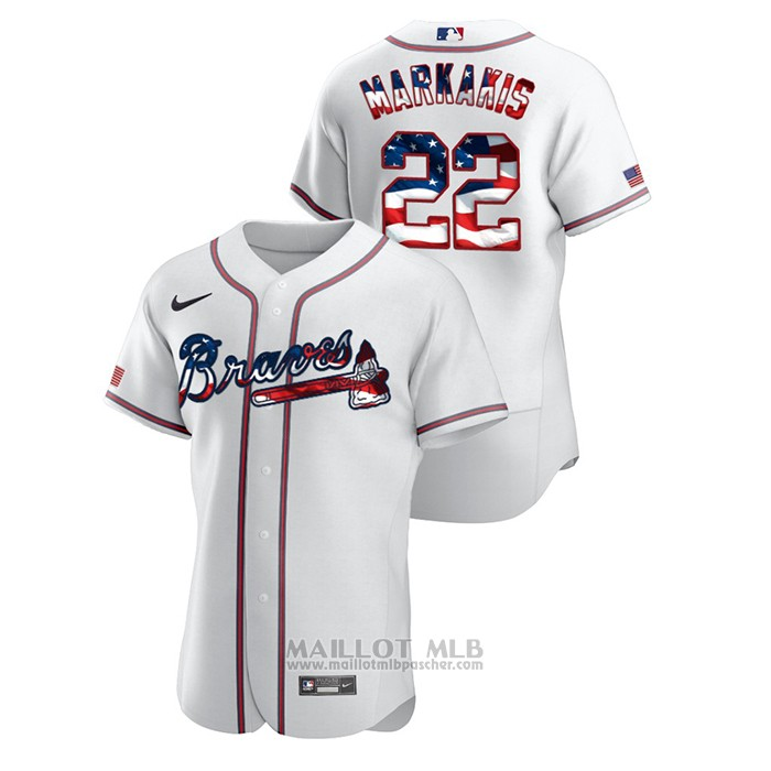 Maillot Baseball Homme Atlanta Braves Nick Markakis 2020 Stars & Stripes 4th of July Blanc