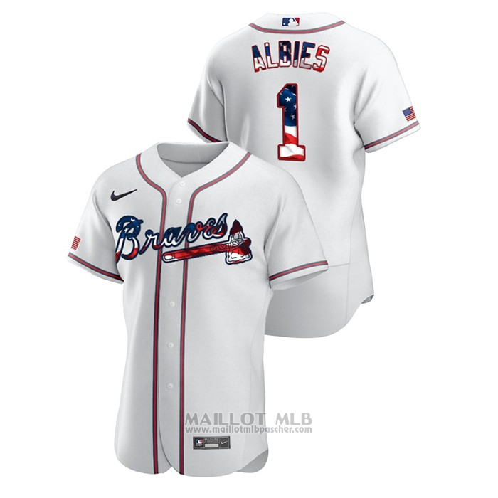 Maillot Baseball Homme Atlanta Braves Ozzie Albies 2020 Stars & Stripes 4th of July Blanc