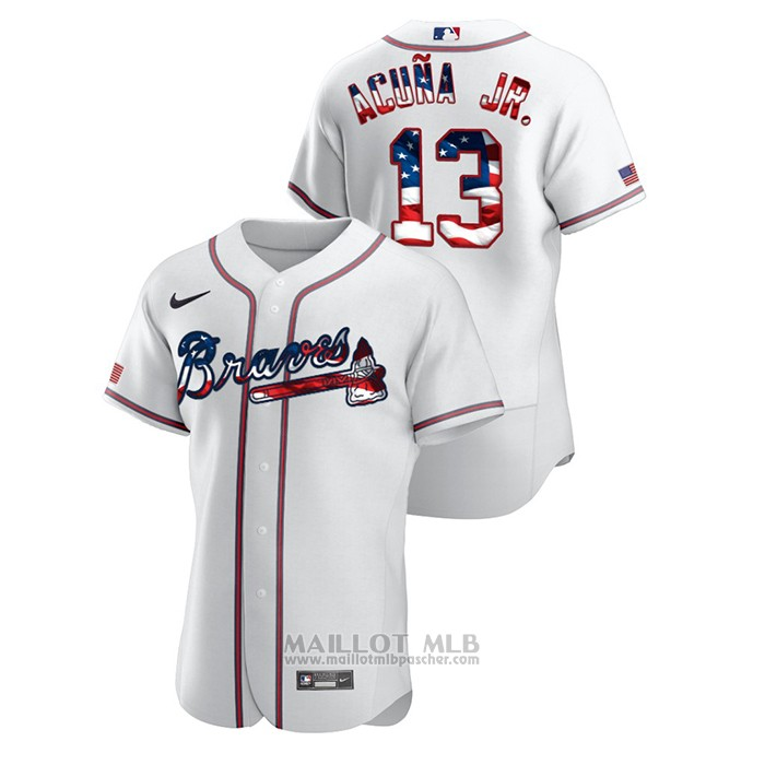 Maillot Baseball Homme Atlanta Braves Ronald Acuna Jr. 2020 Stars & Stripes 4th of July Blanc