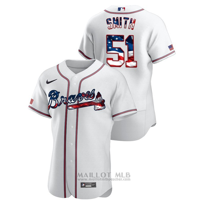 Maillot Baseball Homme Atlanta Braves Will Smith 2020 Stars & Stripes 4th of July Blanc