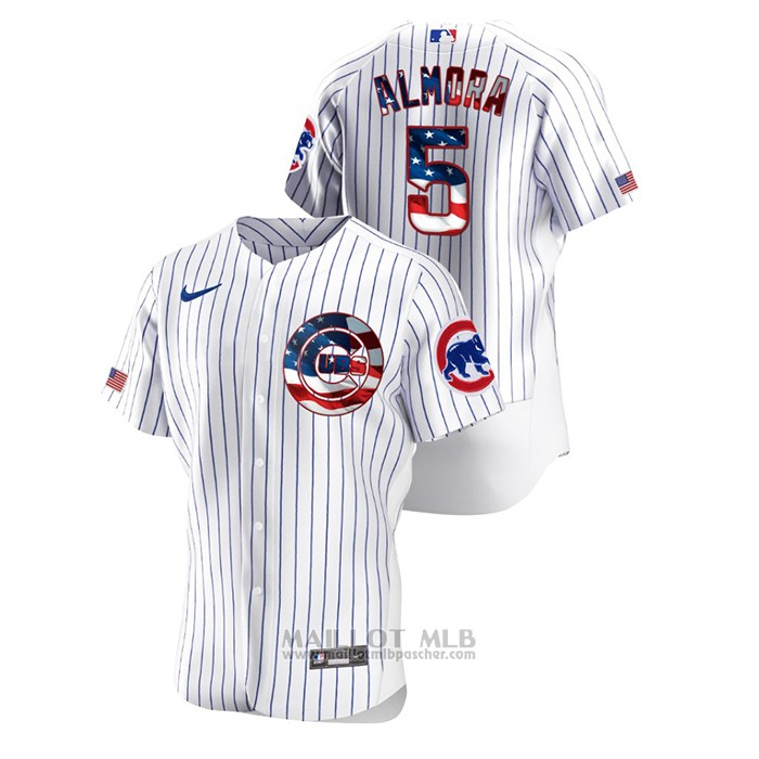 Maillot Baseball Homme Chicago Cubs Albert Almora Jr 2020 Stars & Stripes 4th of July Blanc